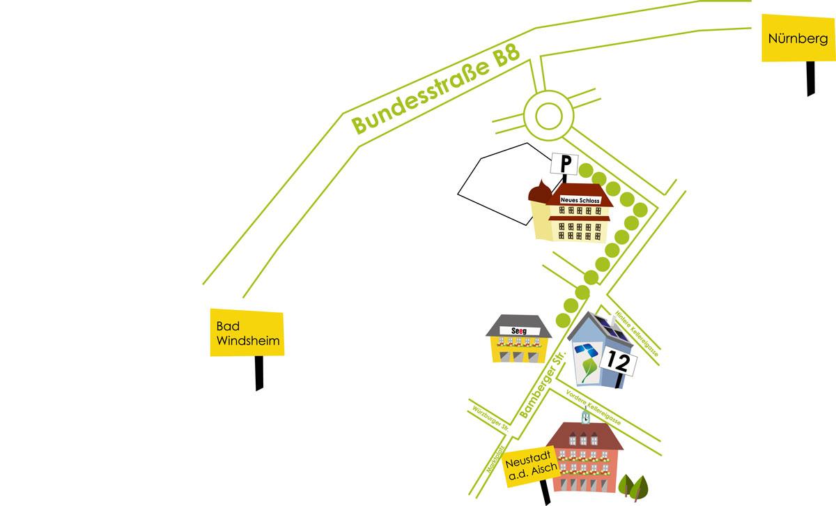 Ihr Weg zum Phasenwerk Neustadt Aisch - Photovoltaik - Stromsparen und Stromspeicher